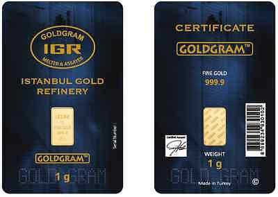 1 Gram IGR Mint 999-9 Gold Bar Sealed with Assay Certificate 24 Karat
