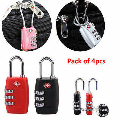4pcs TSA Approved Travel Luggage Suitcase Cable Lock 3-Digit Password Padlock