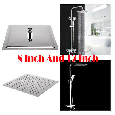 8 and 12 Square Stainless Steel Rainfall Shower Head Bathroom Set of 2 New