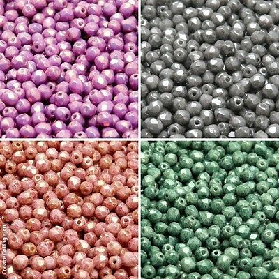 400pcs 4mm 4 colors Set Fire Polished Faceted Round Beads Czech Glass 4SFP407