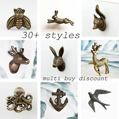 Vintage Animal Door Knobs Cabinet Drawer Pull Hare Fox Stag Bumble Bee Rabbit