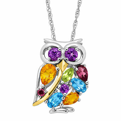 2 ct Natural Multi-Stone Owl Pendant in Sterling Silver - 14K Gold