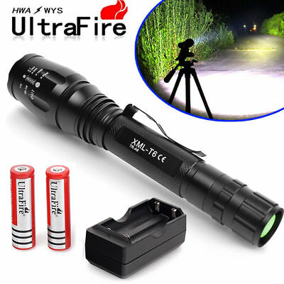 15000Lumens 5 Modes XM-L T6 Zoomable LED Flashlight Torch 18650-Charger USA