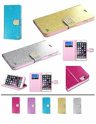 For Apple iPhone 6 6s PLUS Bling Leather Glitter Flip Wallet Case Cover Stand