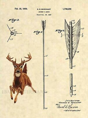 Official Whitetail Deer US Patent Art Print- Antique Bow Arrow Sheds Hunting 269
