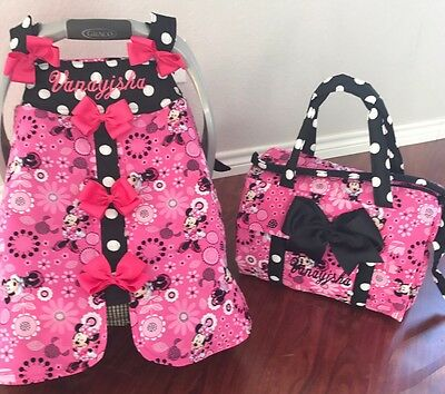 Brand-New Minnie Mouse Handmade Baby Infant Car Seat Canopy- Diaper Bag