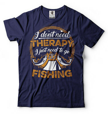 Fishing Therapy T-shirt Funny Fishing Tee Gift for Dad Fathers Day Mens Tee