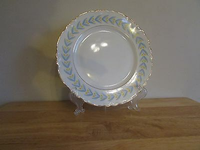 W S George China Radisson 9-34 Dinner Plate White Yellow Tulips Blue Leaves
