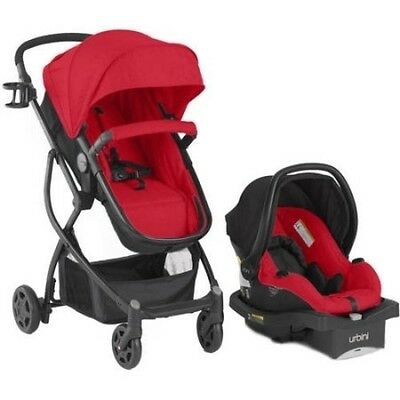 Baby 3in1 Travel System Stroller Car Seat Buggy Bassinet - RED