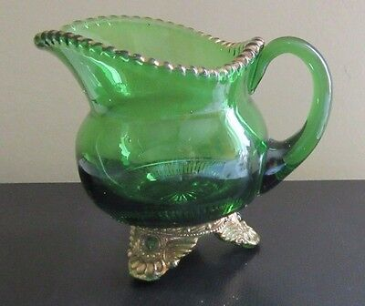 Vintage EAPG Emerald Green Footed Creamer Gold Trim  name Etched on front