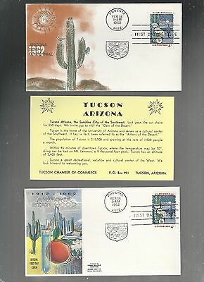 US FDC  FIRST DAY COVER  1192 ARIZONA 1962  LOT OF 2 WITH INSERT
