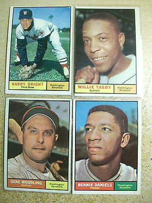 Topps 1961 Washington Senators Baseball Card lot 22  Harry Bright Dale Long