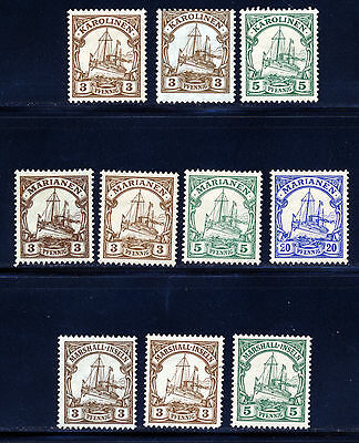 GERMANY 1899 GERMAN COLONIES SMALL LOT OF KAISERS YACHT MH