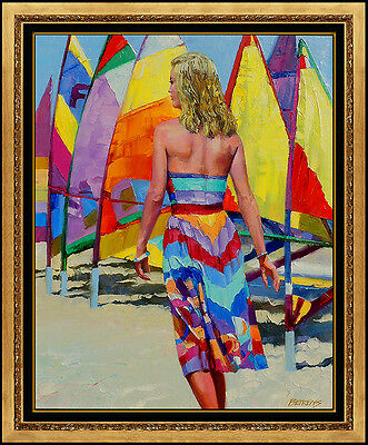 Howard Behrens Large Original Painting Oil On Canvas Beach Landscape Signed Art
