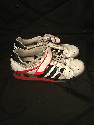Adidas Power Perfect 2 Olympic Lifting Shoes White Red Black Size 10