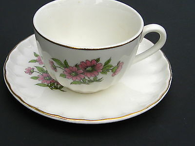 Cuo and saucer   W S George Pink Daisies    Bolero Shape  GE053 England Porcela