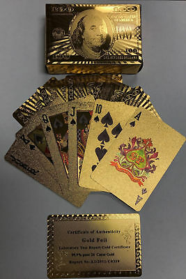 HIGH QUALITY 24K GOLD FOIL PLAYING CARDS NEWEST 100-00 BILL BENJAMIN  FRANKLIN