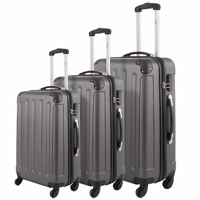 BHC 3 Pcs Luggage Travel Set Bag ABS-PC Trolley Suitcase Gray