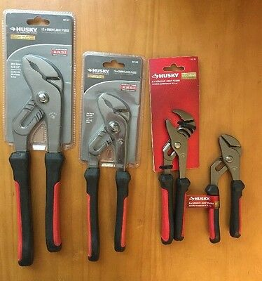 4 Piece Set of Husky Groove Joint Pliers 12 10 8 and 6