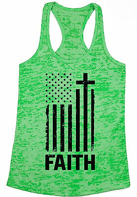 USA Flag Faith Womens Burnout Racerback Tank Tops 4th of July Gift