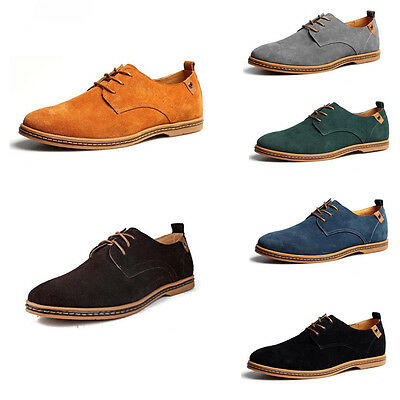 Mens Suede Leather Shoes Dress Formal Oxfords Business Casual Flats Loafers