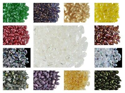 CHOOSE COLOR 20pcs 5x8mm 2-Hole ZoliDuo® Right Beads Czech Pressed Glass