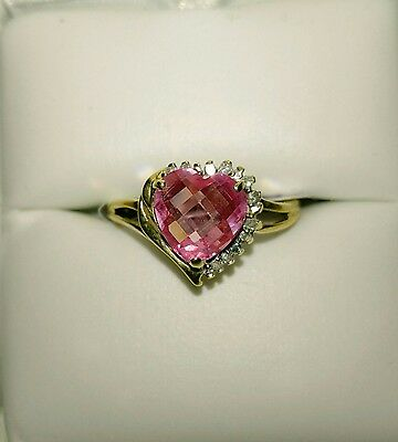 Gorgeous 10k Gold Pink Gemstone with Diamond Accents Ring- Size 7
