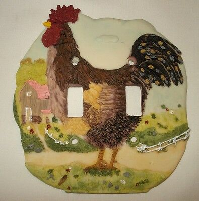 Country Rooster 3D Painted Double Light Switchplate Cover -Home Decor-New in Box