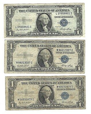 Lot of 3 1935 Series E 1 Dollar Silver Certificates-Blue Seal