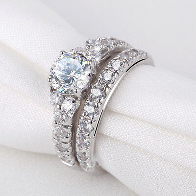 Round Cut White CZ 925 Sterling Silver Wedding Band Engagement Ring Set Size 7