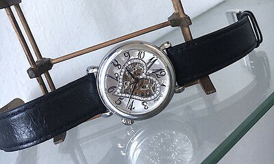 Womens Sturhling Open Heart Skeleton Watch with Black Leather Band