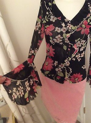 New WET SEAL lace colorful blouse long bell sleeves and rufflessmall