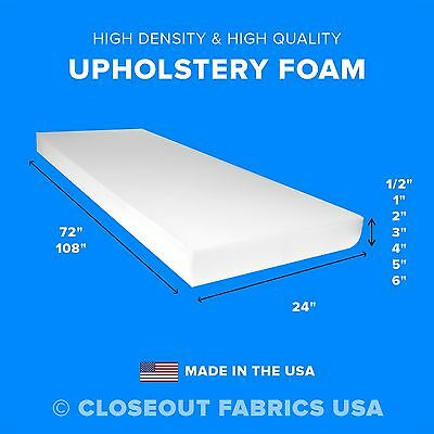 High Density Upholstery Foam Seat Cushion Replacement - 24 x 72 - 24 x 108