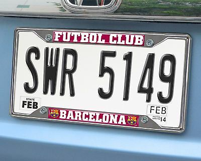 FC Barcelona EZ View Chrome Metal License Plate Frame