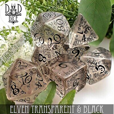 Elven Transparent & Black Dungeons and Dragons Dice Set | DND DICE | Q-Workshop