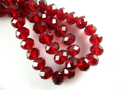 200Pcs Dark Red Crystal Glass Faceted Rondelle 3mm Spacer Beads Jewelry Crafts