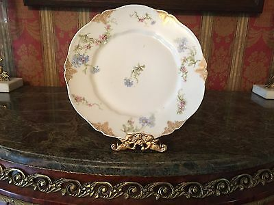 4 Striking Theodore Haviland Limoges Floral and Gold Dinner Plates-
