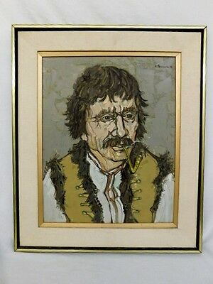 VINTAGE OIL PAINTING FRAMED RUSSIAN MAN WITH PIPE UKRAINIAN 15X19 CANVAS