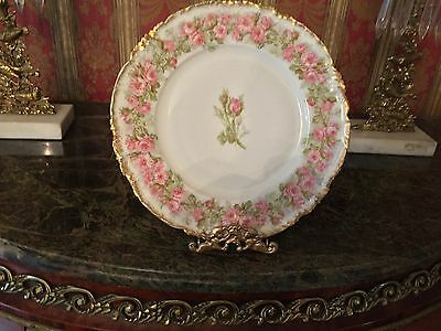 Striking Limoges Pink and Gold Rose Floral Plate