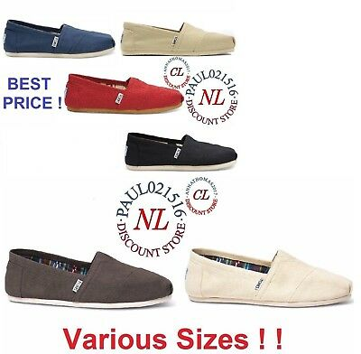 Authentic TOMS Womens CLASSIC Solid Canvas Slip on flats shoes- FREESHIP