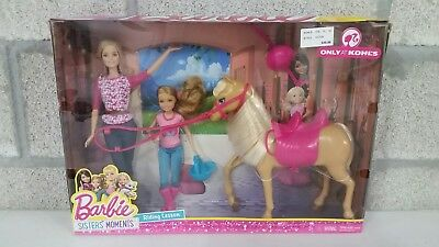 Barbie Pinktastic Sisters Riding Lessons Horse and Dolls
