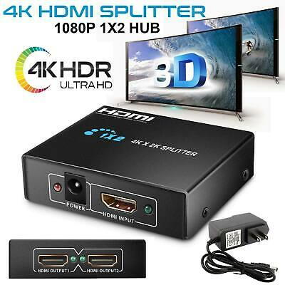 Ultra HD 4K 2 Port HDMI Splitter 1×2 Repeater Amplifier 3D 1080P Hub 1 In 2 Out