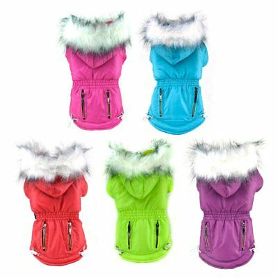 US Small Pet Dog Waterproof Winter Warm Clothes Puppy Hoodie Coat Jacket Costume