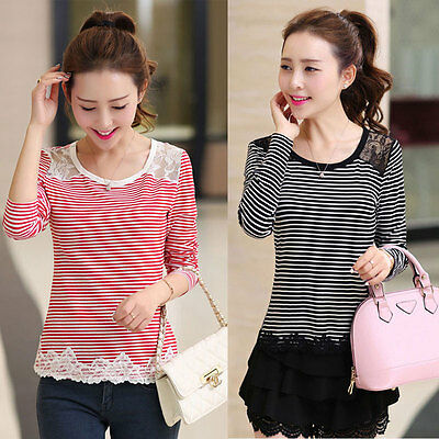 Fashion Womens Ladies Lace Long Sleeve Shirt Loose Casual Blouse Tops T-Shirt