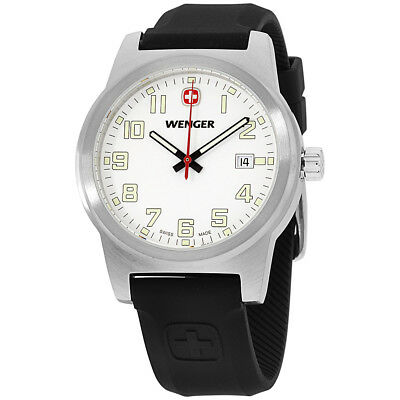 Wenger Field Classic White Dial Silicone Strap Mens Watch 010441117