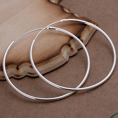 Womens 925 Sterling Silver Classic Large Round Vogue Hoop Fashion Earrings E63