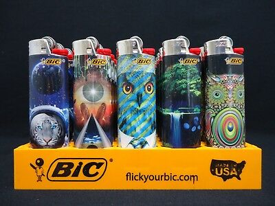 8 Bic Lighters Prismatic Swirling Multicolor Patterns Owl Tiger Animals - Nature