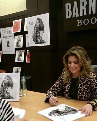 SHANIA TWAIN NOW LP 12 ALBUM COVER HAND SIGNED AUTOGRAPH SIGNING PROOF