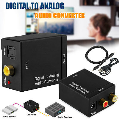 Digital Optical Coaxial Toslink Signal to Analog Converter Audio Adapter RCA USA