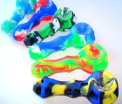 4 SILICONE TOBACCO PIPE WITH GLASS BOWL - TOOL - STASH CONTAINER - RASTA